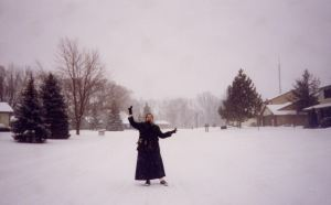 This is me in the first snow working with Sister Servito