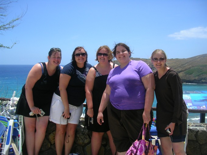 Here we are enjoying snorkeling at Hanama Bay.  Amazing.(L to R) Megan, Camille, Hiedi, Me, and Sarah