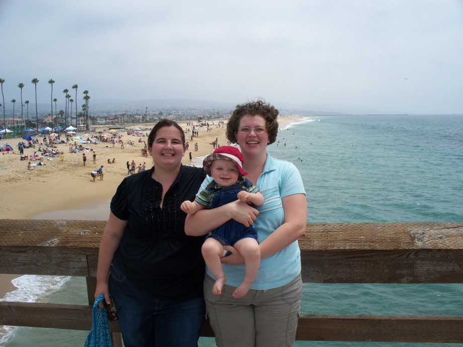 Raelene and I at Newport Beach with her little boy (and her husband Jordan taking the photo)