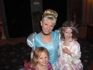 Isabel and Lucy with Cinderella at the Princess Festival