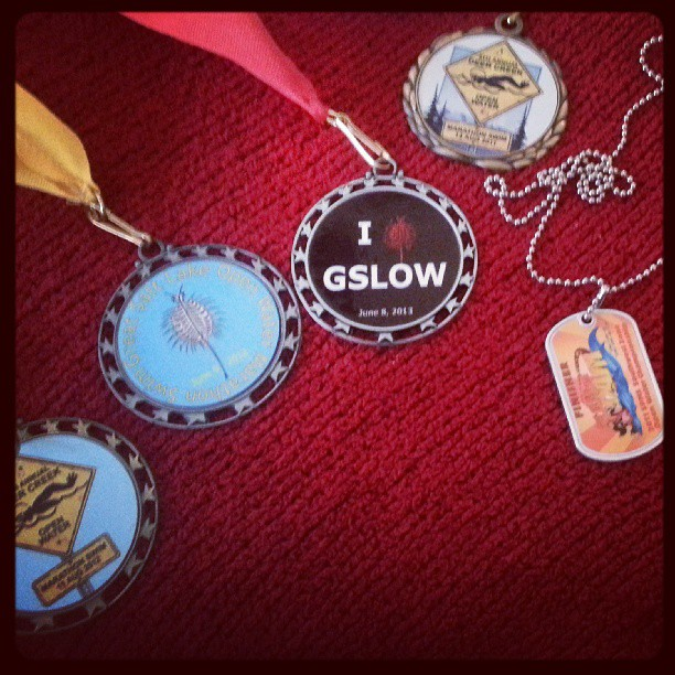 All of my medals (center one that says GSLOW in black that is this years)