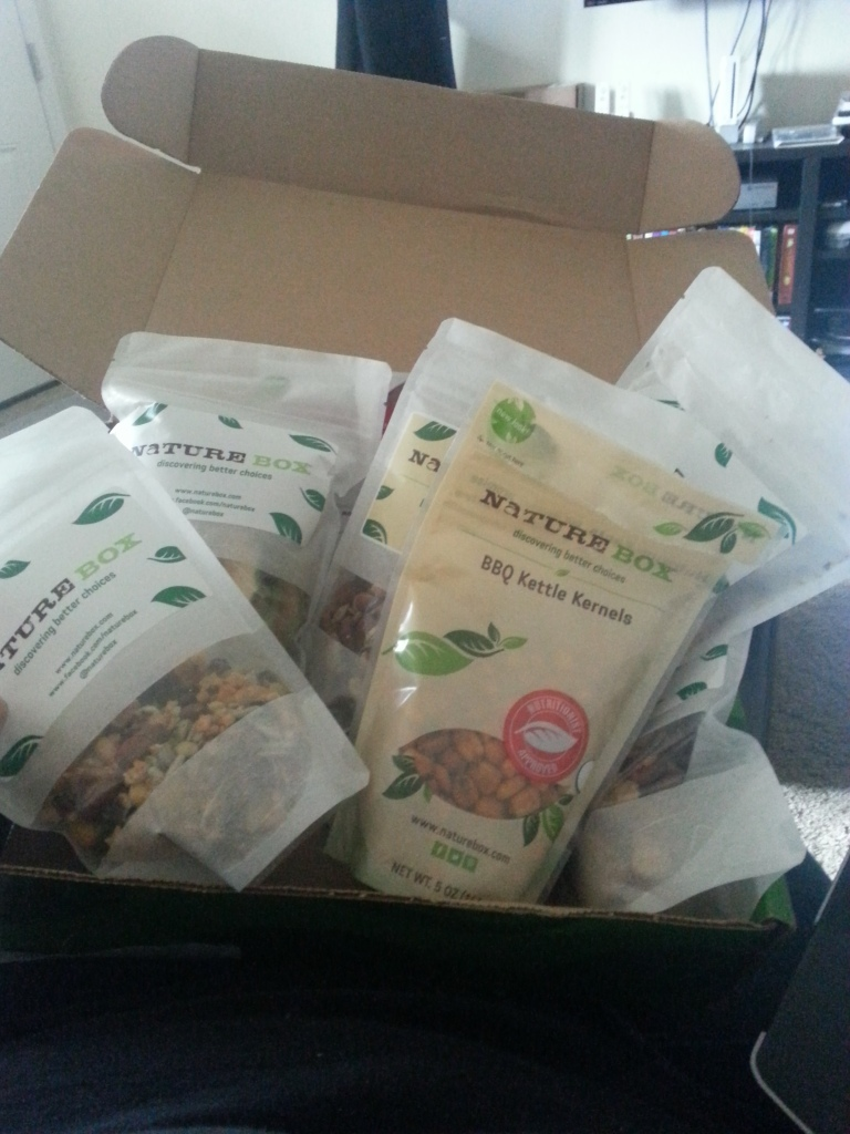 Naturebox full of healthy snacks. 7 bags of $27. Dried fruits and yummy trail mix like bombay curried cashews, lone star snack mix and unami roasted nuts