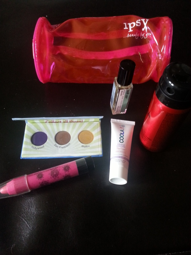 July ipsy box.  Not as upscale as birchbox but a lot for the money.  Love the eye shadow