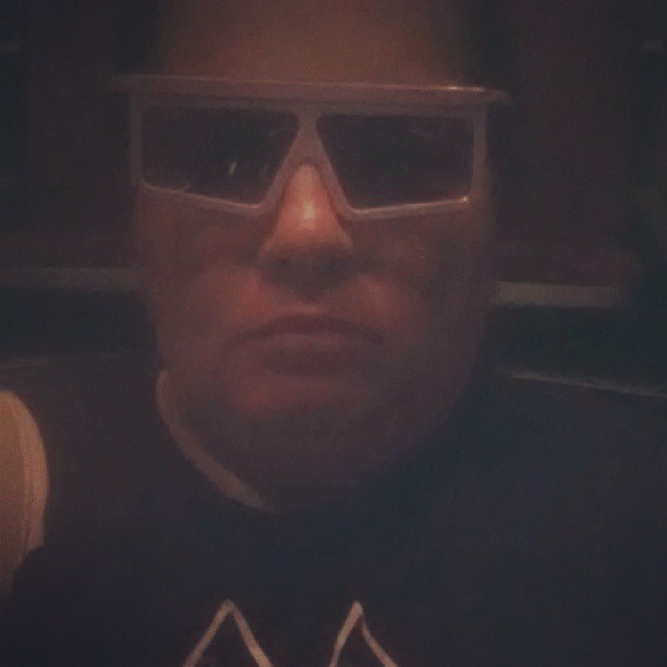 At Muppets 3D.  Don't I look Judge Dredd?