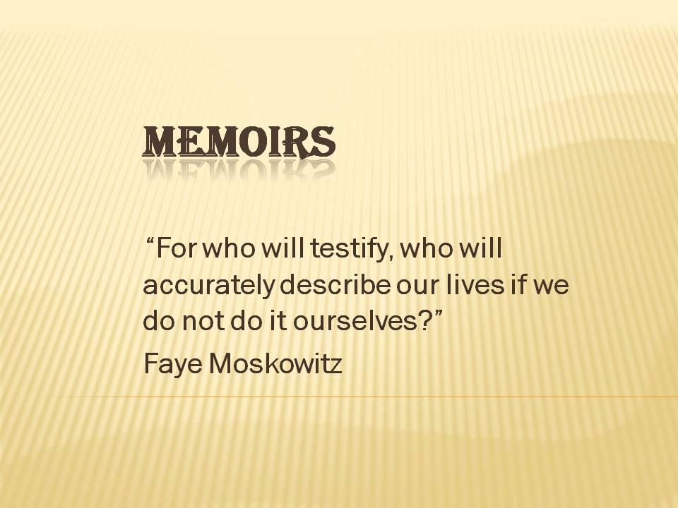 Memoirs21