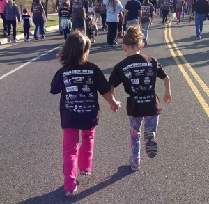 The girls ran together the whole way.  So cute