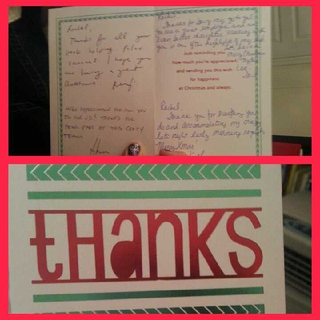 I got a Christmas card from the main office today and it meant a lot to me. Being a telecommuter it was nice to hear their words